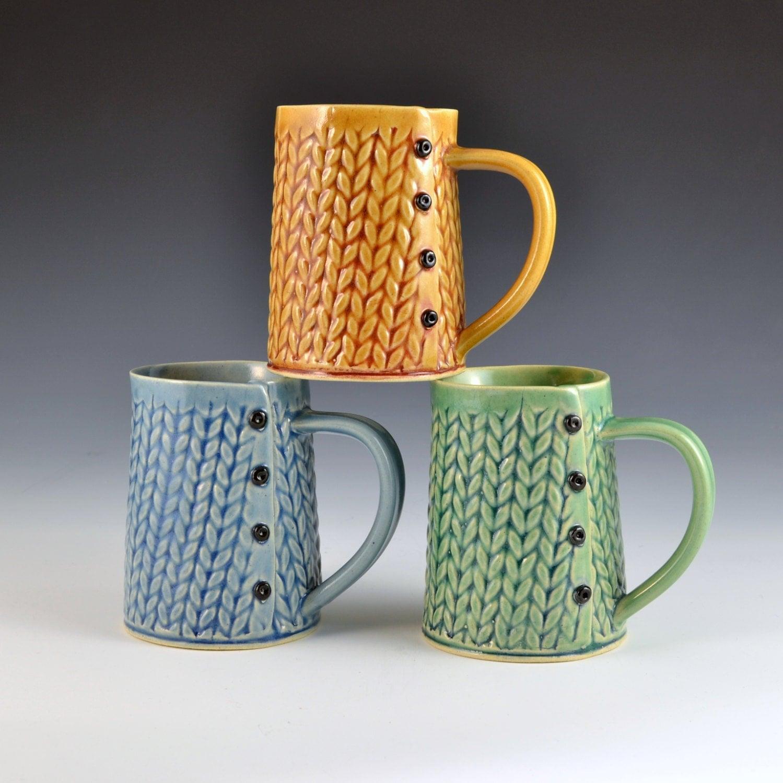 Knitted Handmade ceramic mug READY TO SHIP