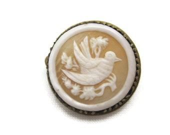 Antique Cameo Brooch - Carved Shell - Victorian Dove Jewelry