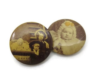 Antique Photo Brooches - Pins Mourning Jewelry Children Baby