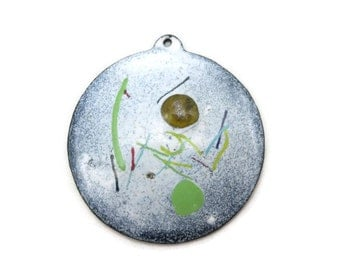 Mid Century Enamel Pendant - Large White Green Abstract