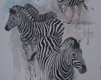 Original Watercolour Painting - Zebras