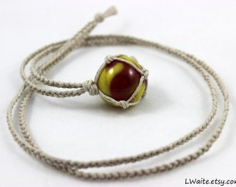 On Sale - Antique Marble Hemp Wrapped Necklace