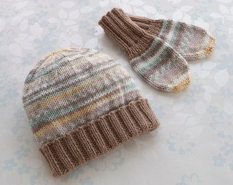 BABY HAT & MITTENS - 6 to 12 months size - baby yarn in shades of brown, yellow, white and pale green accented with ribbing in light brown
