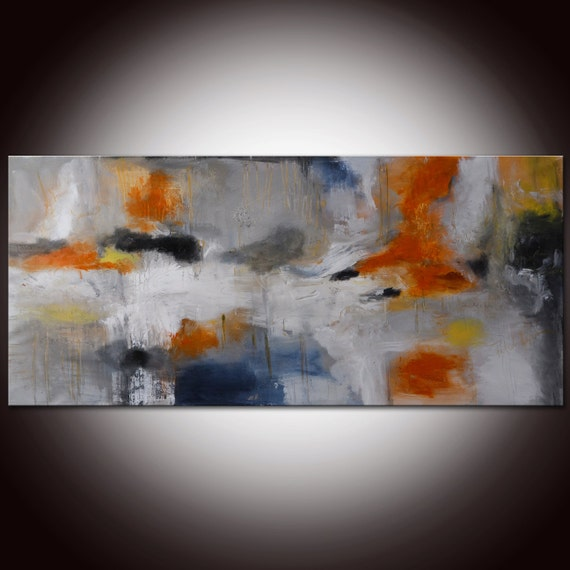 Large Orange Grey Abstract,Abstract Painting,Contemporary Orange Large Painting,Red Grey Abstract Painting, Rust Painting,Large art 72x30