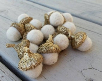 Gold Metallic Felted Acorns in Winter White Holiday Decor Home and Living