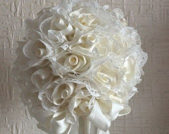 Handmade Ivory Ribbon Rose and Lace Bouquet