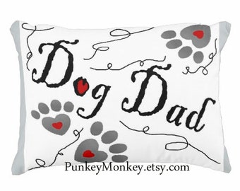 Dog Dad toss pillow for dog lovers paw print pillow pet lover gift daddy adoption rescue 16x12 hearts paw prints custom pillow dog rescue