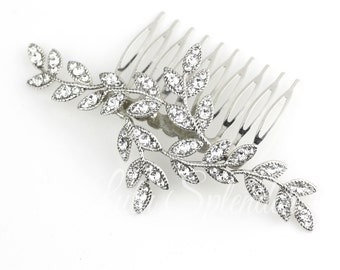 Crystal Leaf Wedding Hair Comb Silver Rhinestone Bridal Hair Accessory Leaves Comb NEVE CLASSIC