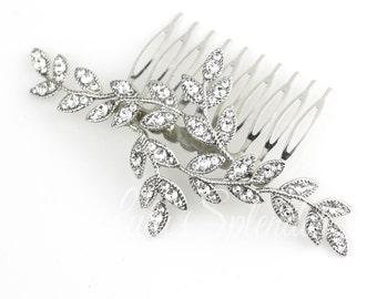 Bridal Hair Comb Silver  Crystal Leaf Wedding Hair Comb Silver Rhinestone Bridal Hair Accessory Leaves Comb NEVE CLASSIC