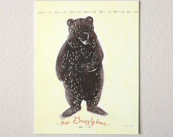 The Grizzly Bear, NEW Original painting, California Grizzly, Bear, brown bear