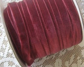3 Yards Plush Velvet Ribbon Dark Rose .375 Inch Wide 3/8 Inch Wide
