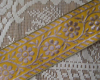 3-3/4 Yards Metallic Trim Jacquard Ribbon 2 Inch Wide Yellow And Silver  BD 86