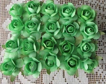 Paper Millinery Flowers 24 Small Handmade Roses In Spring Green
