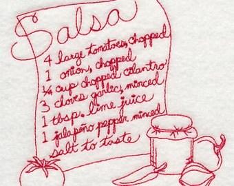 Embroidered Redwork Flour Sack Salsa Recipe Towel