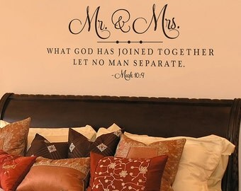 Mr. and Mrs. - What God has joined together - Vinyl Wall Decals