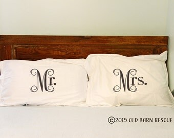 Pillow shams - Mr. and Mrs.  Pillow Sham Set