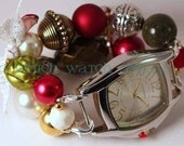 SALE Shabby Chic Heirloom Holiday.. Festive Dark Red, Olive Green and Cream Chunky Interchangeable Beaded Watch Band