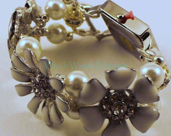 White Floral...White Enameled Flower and Pearl Interchangeable Beaded Watch Band, Petite