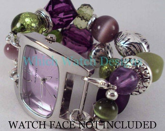 Go-Go Grape.. Purple and Green Interchangeable Beaded Watch Band