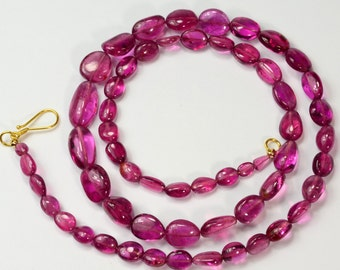 """Pink RUBELLITE TOURMALINE Smooth Nugget Bead 19.75"""" Necklace 18K Gold Hook Clasp"""