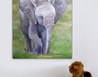 Painting of Baby Elephant  - Made to Order - Various Sizes, Safari Animal