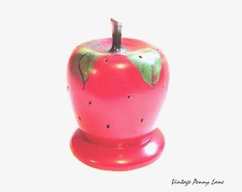 Vintage Apple Pin Holder / Display, Painted Red Wood