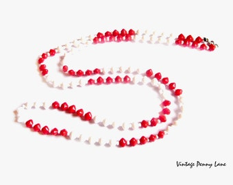 Long Bead Necklace, Red / White Milk Glass