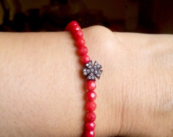 Gemstone Bracelet Stackable Bracelet Black Snowflake Red Coral Elastic Bracelet Minimalist Jewelry Stretch Bracelet