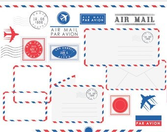 Post office clipart - stamps mail clip art postal elements postage air mail par avion vintage letters borders frames plane post office