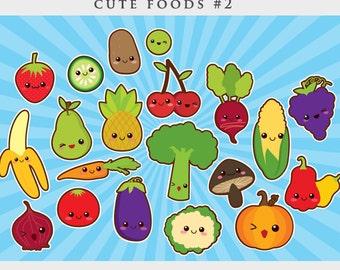 Kawaii clipart - cute food clip art Japanese vegetables fruit broccoli cucumber potato cherry radish strawberry grape backgrounds commercial