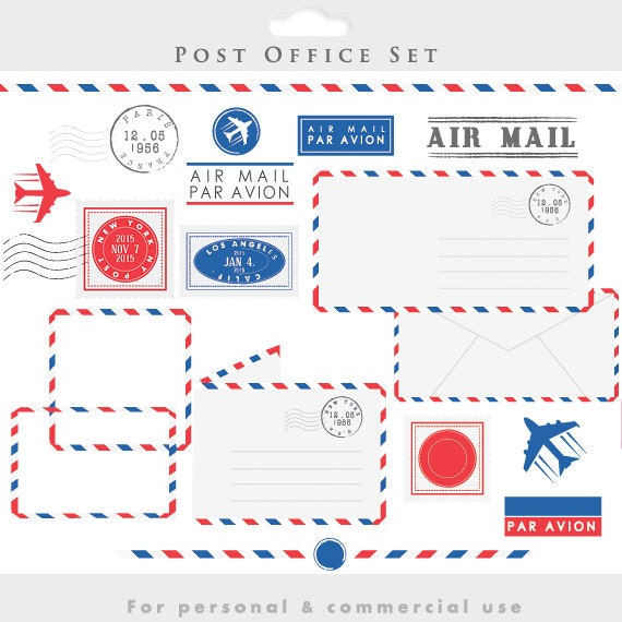 Post Service: Post Office Clipart Stamps Mail Clip Art Postal Elements
