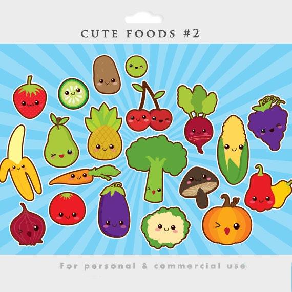 Kawaii fruit clipart | Etsy
