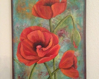 Love ON SALE 45.00 was 125.00 Bold Red Poppies Mixed Media Acrylic on Canvas