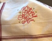 Embroidered Colonial Cotton Dish Towel With Hanging Loop - Christmas Wise Men Still Seek Him