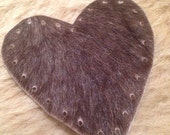 """Dark brown Heart Cowhide Leather Patch 3"""""""