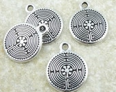 Labyrinth Charms - Antique Silver Charms - TierraCast Labyrinth Chartres Spiral Drops - Metaphysical Meditation Yoga Charms (P868)