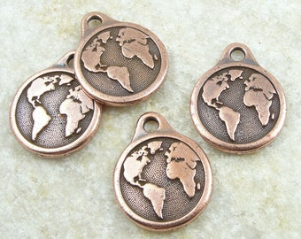 TierraCast EARTH Charm - Antique Copper Charm - World Charm Planet Earth with Continents for Earth Day (P1253)