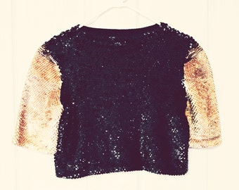 Sequin cropped sweater. Vintage. Hipster. Gold and black.