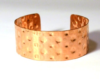 Copper Cuff Bracelet Embossed with Dots Pattern, Handmade from Reclaimed Metal, Bright Shiny EcoFriendly Polka Dot Print Jewelry, One inch
