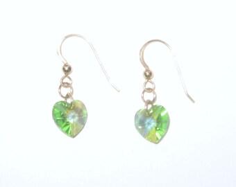 Peridot Swarovski Crystal Heart Dangle Earrings