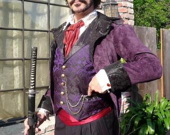 Black and Purple Medieval Pattern Silk Brocade Steampunk Victorian Lapeled Gentlemen's Vest and Frilly Shirt