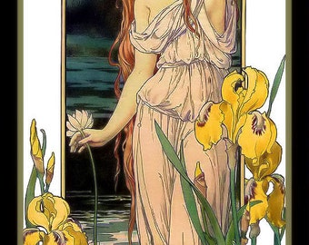 Art Nouveau Woman in the Garden with Lily FlowersRefrigerator Magnet -  FREE US SHIPPING
