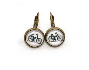 Bicycle Earrings, Bike Illustration Jewelry, Dangle Earrings