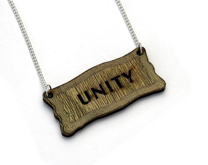 Inspirational 'Unity' Necklace, Wood Jewelry