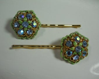 Vintage Up Cycled Hair Pins Sparkly Glass Rhinestone Flower Hair Clips Gold Bobby Pins 1950s Glam Blue and Green Glass