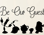 Disney Beauty and the Beast Be our Guest Beauty and the Beast wall Decal  Quote and Silhouette  Vinyl Wall Decal Art