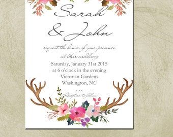 Printable 5x7 PDF- Rustic- Botanical Wedding/Event Invitation
