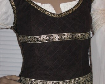 DDNJ LOTR Eowyn Shield Maiden Inspired LOTR Reversible Corset Style Bodice Plus Custom Made any Size Renaissance Pirate Wedding Costume sca