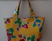 Beth's Medium Yellow Strawberry Oilcloth Market Tote Bag
