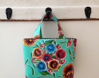 Beth's Small Aqua Bloom Oilcloth Tote Bag
